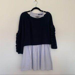 ZARA Layered Sweater Over Dress